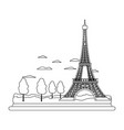line eiffel tower structure and cute trees vector image vector image