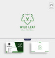 lion wild leaf logo template with business card vector image vector image