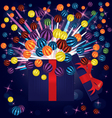 magic light gift box balls vector image vector image