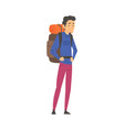 male tourist standing with backpack man going on vector image vector image