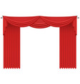 red realistic silk curtains drapery vector image