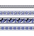 Set of Ethnic ornament pattern with cross stitch vector image vector image