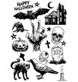 set of hand drawing of halloween objects in black vector image vector image