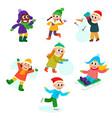 set of kids children doing winter activities vector image vector image