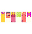 set of vertical banners with cute monsters vector image vector image