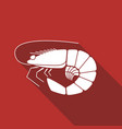 shrimp flat icon vector image vector image
