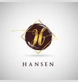 simple elegance initial letter h gold logo type vector image vector image