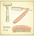 Sketch barber set in vintage style vector image vector image