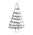 sketch draw christmas tree cartoon vector image vector image