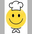 smiley face yellow chef happy smiley emoji vector image vector image