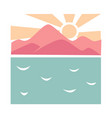spectacular landscape with sea and mountains on vector image