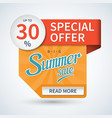 Summer sale banner Special offer template vector image