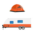 Trailer and camping tent vector image vector image