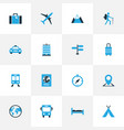 traveling colorful icons set collection of train vector image