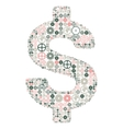 US dollar sign made of colored gears vector image vector image