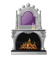 vintage fireplace and a purple candle in a vector image vector image