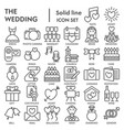 wedding line signed icon set love symbols vector image