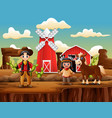 wild west farm with cowboy and indian girl vector image vector image