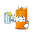 with juice package juice mascot cartoon vector image