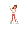 young woman housewife cleaning the floor with a vector image