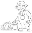 gardener with vegetables outline vector image