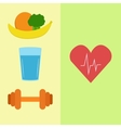 Healthy food water and sport vector image