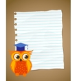 Back to school on wrinkled lined paper and owl vector image