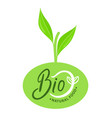 bio natural food organic logo with green sprout vector image vector image