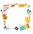 border template with musical instruments vector image vector image