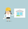 businesswoman show house plans vector image