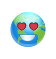 cartoon earth face smile with heart shape eyes vector image