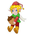 christmas cartoon elf boy vector image vector image