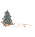 christmas corner composition with place for text vector image vector image