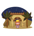 christmas nativity scene cartoon vector image vector image
