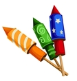 Classic festive firecrackers rockets with confetti vector image vector image