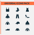 clothes icons set collection of trilby singlet vector image