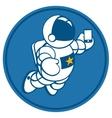 cosmonaut with smartphone in hand vector image