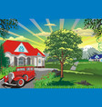 countryside - car near the cottage vector image vector image