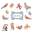 Cute collection of funny birds vector image vector image