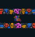 day dead card funny mexican skull cartoon vector image vector image
