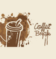 disposable paper coffee cup with stains and spots vector image vector image