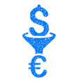 dollar euro conversion filter grunge icon vector image vector image