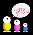 easter greeting - three colored chicken eggs text vector image vector image