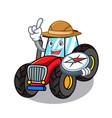 explorer tractor mascot cartoon style vector image