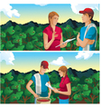 farmer man and woman in coffee field mountains vector image vector image