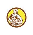 Female Organic Farmer Basket Harvest Retro vector image vector image