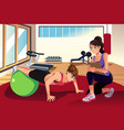 female personal trainer training a woman in the vector image