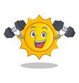 fitness cute sun character cartoon vector image