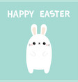 happy easter white rabbit bunny cute kawaii vector image