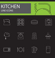 kitchen line icons set outline vector image vector image